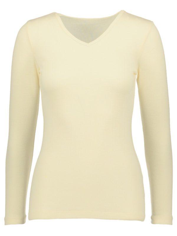 Silk wool long sleeved shirt V-neck