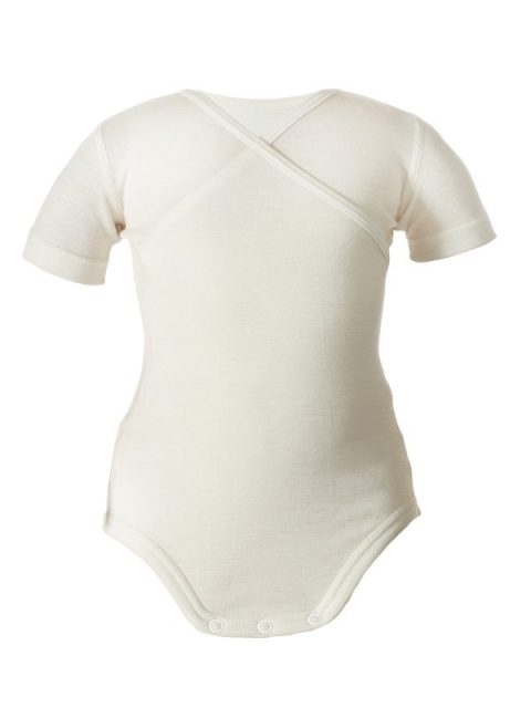 Silk wool baby body short sleeves