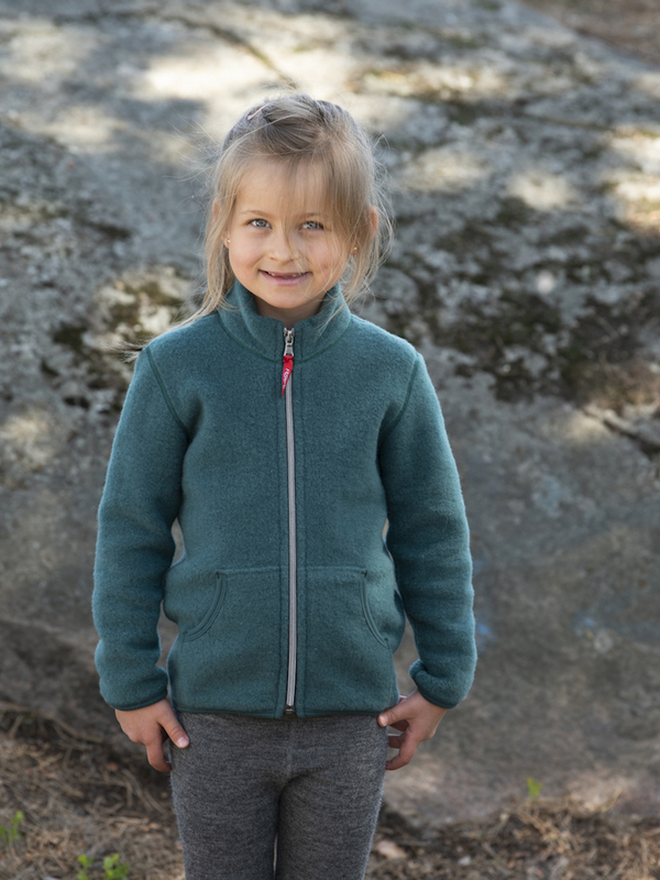 Kids Merino Fleece Jacket Forest Green Ruskovilla